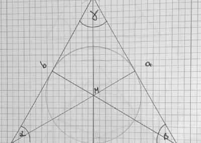 ... bevor Burak aus dem Schnittpunkt der Winkelhalbierenden eines Dreiecks einen Inkreis zeichnet. Ohne Geschwisterhilfe in Klasse 4!